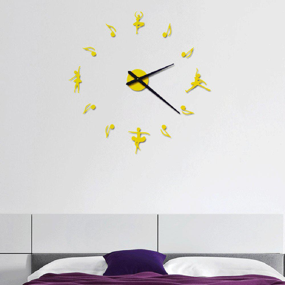 Acrylic Mirror Wall Clock Dance DIY Still Life Home Decoration Living - GOLD