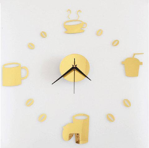 Horloge murale Creative DIY Cartoon Numbers Modern Numbers Décoration de la maison Vivre - Or