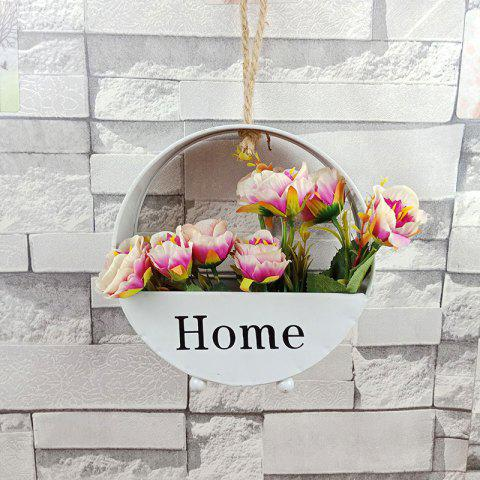 Iron Wall Hanging Fake Flower Basket Pot Vase for Home Garden Decoration Crafts - WHITE