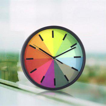 Colorful Round Shaped Wall Hanging Mute Home Clock - BLACK