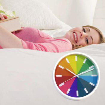 Colorful Round Shaped Wall Hanging Mute Home Clock - WHITE
