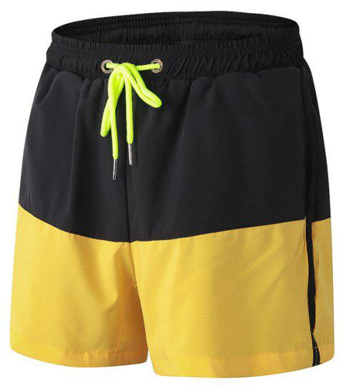 Men's Sports Running Basketball Fitness Training Stretch Quick Dry Shorts - YELLOW M