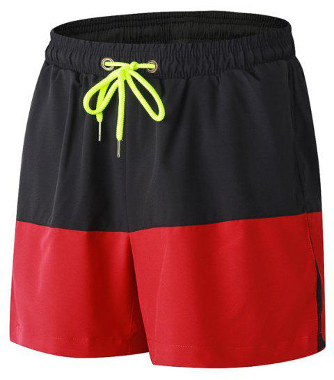 Men's Sports Running Basketball Fitness Training Stretch Quick Dry Shorts - RED M