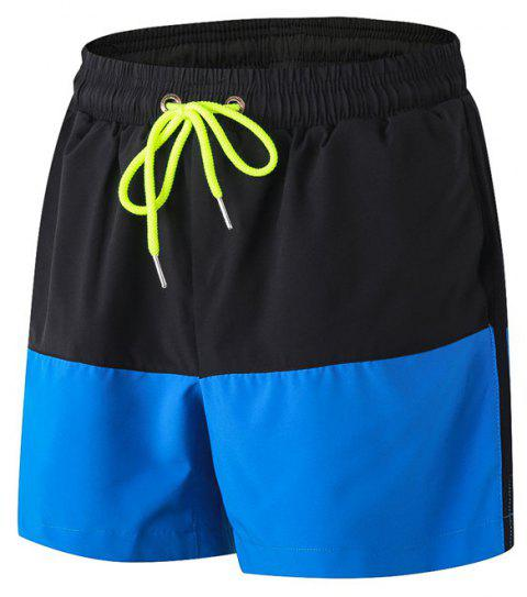 Men's Sports Running Basketball Fitness Training Stretch Quick Dry Shorts - BLUE L