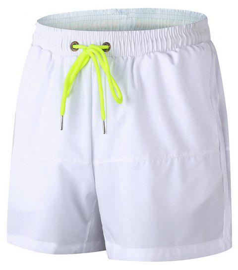 Men's Sports Running Basketball Fitness Training Stretch Quick Dry Shorts - WHITE M