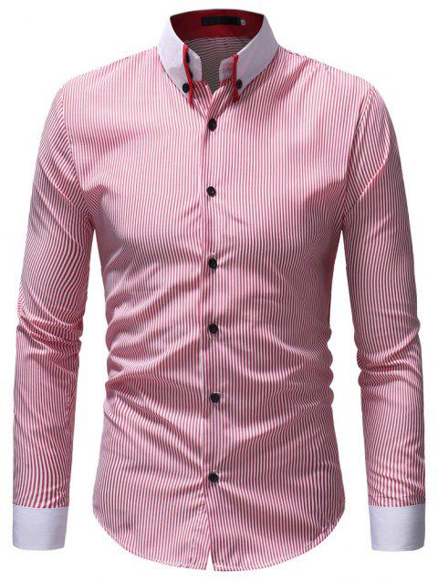 Men's Casual Fashion Striped Shirt - RED XL