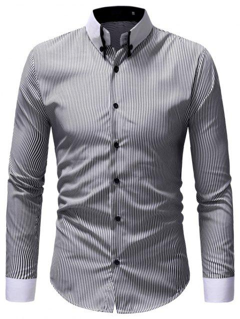 Men's Casual Fashion Striped Shirt - BLACK M
