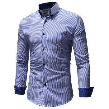 Men's Casual Fashion Striped Shirt - LIGHT BLUE 2XL