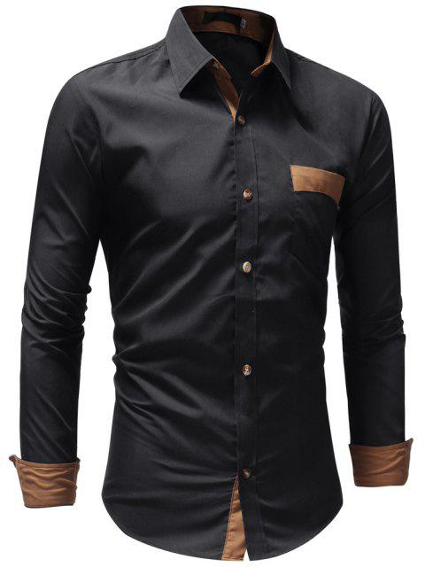 Men's Casual Fashion Solid Color Long Sleeve Shirt - BLACK XL
