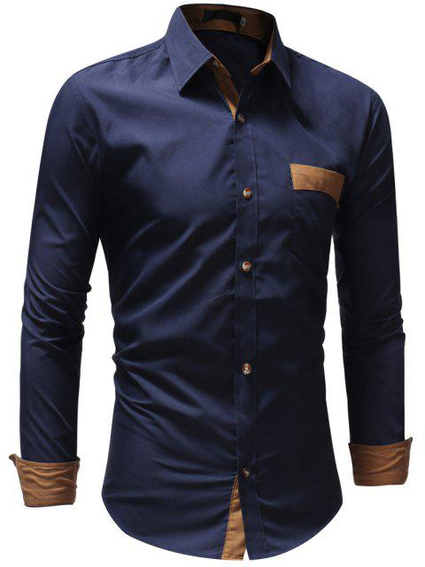 Men's Casual Fashion Solid Color Long Sleeve Shirt - CADETBLUE L