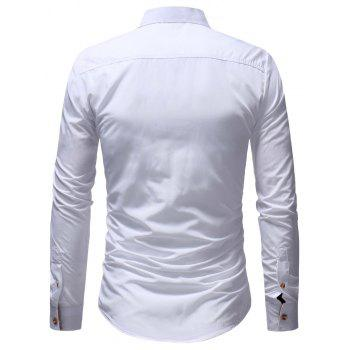Men's Casual Fashion Solid Color Long Sleeve Shirt - WHITE M