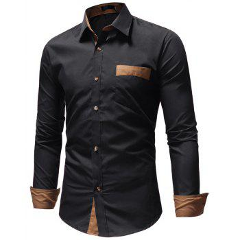 Men's Casual Fashion Solid Color Long Sleeve Shirt - BLACK 3XL