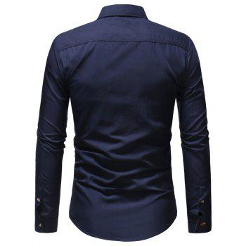 Men's Casual Fashion Solid Color Long Sleeve Shirt - CADETBLUE M