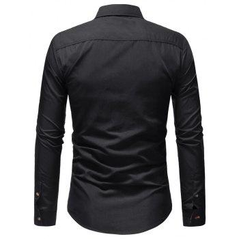 Men's Casual Fashion Solid Color Long Sleeve Shirt - BLACK M