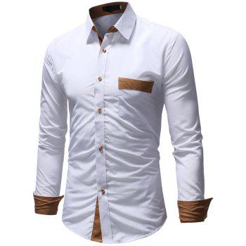 Men's Casual Fashion Solid Color Long Sleeve Shirt - WHITE 3XL
