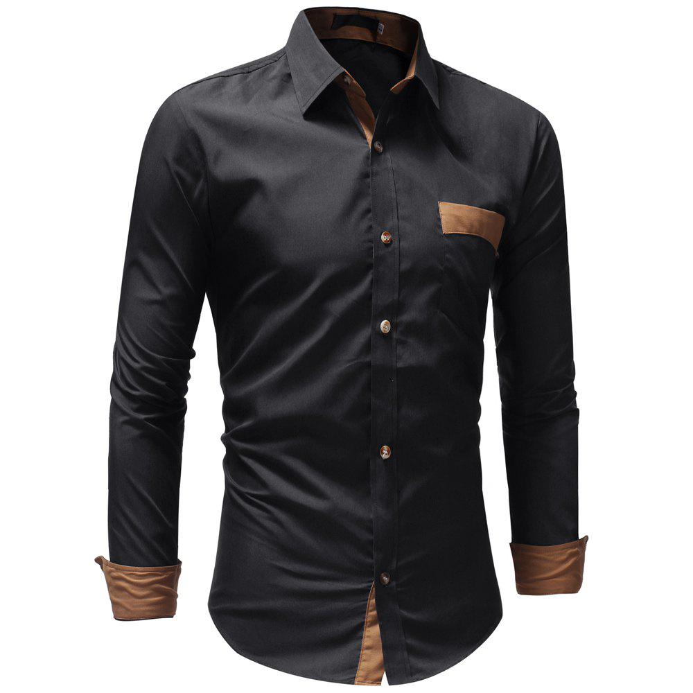 Men's Casual Fashion Solid Color Long Sleeve Shirt - BLACK L