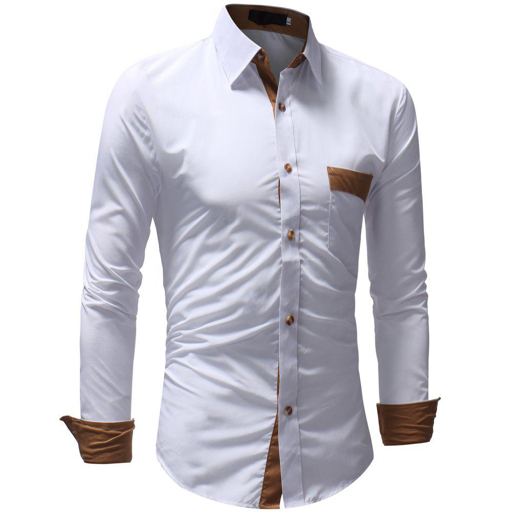Men's Casual Fashion Solid Color Long Sleeve Shirt - WHITE L