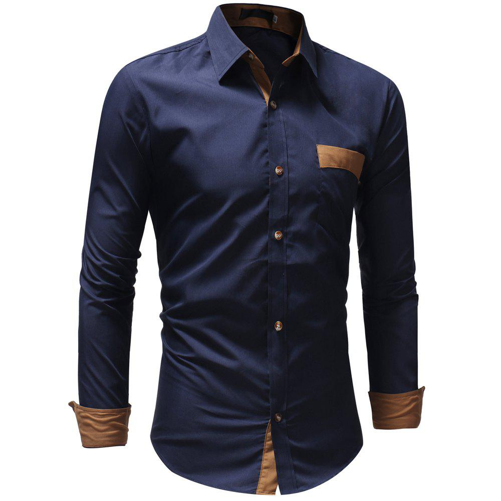 Men's Casual Fashion Solid Color Long Sleeve Shirt - CADETBLUE XL