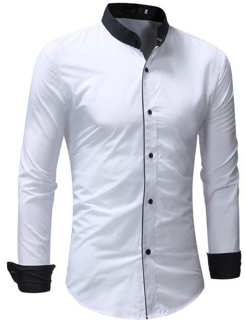 Men's Casual Slim Solid Color Long Sleeve Stand Collar Shirt - WHITE 2XL