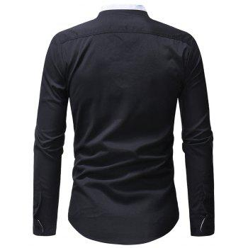 Men's Casual Slim Solid Color Long Sleeve Stand Collar Shirt - BLACK L