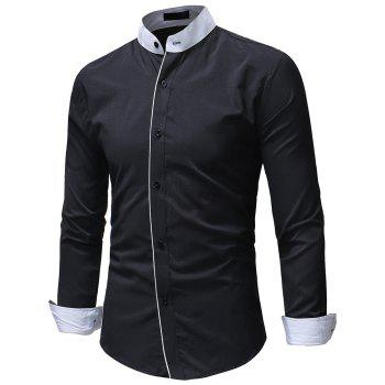 Men's Casual Slim Solid Color Long Sleeve Stand Collar Shirt - BLACK 3XL