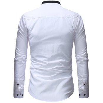 Men's Casual Slim Solid Color Long Sleeve Stand Collar Shirt - WHITE L