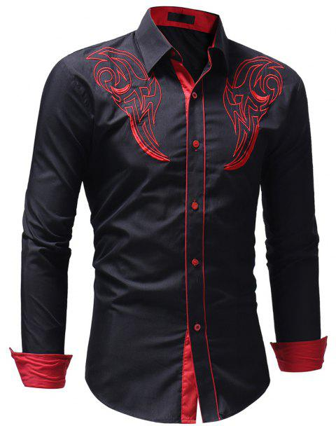 Men's Casual Slim Fit Chest Embroidered Long Sleeve Shirt - CADETBLUE M