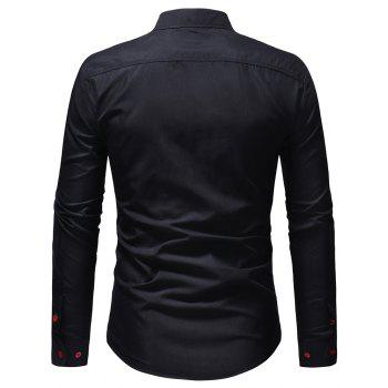Men's Casual Slim Fit Chest Embroidered Long Sleeve Shirt - CADETBLUE 2XL
