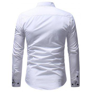 Men's Casual Slim Fit Chest Embroidered Long Sleeve Shirt - WHITE 3XL