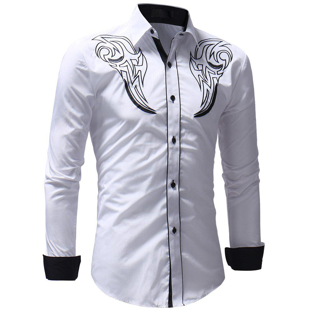 Men's Casual Slim Fit Chest Embroidered Long Sleeve Shirt - WHITE M