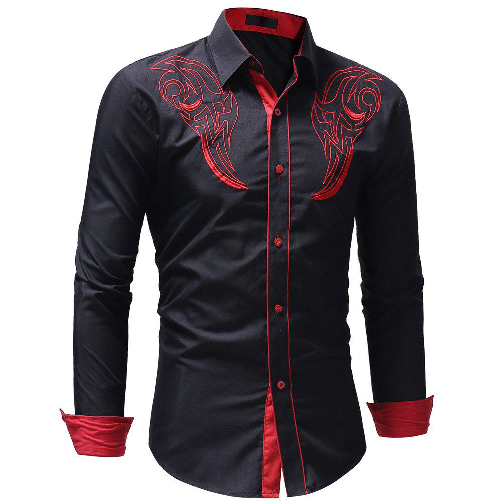 Men's Casual Slim Fit Chest Embroidered Long Sleeve Shirt - BLACK 3XL