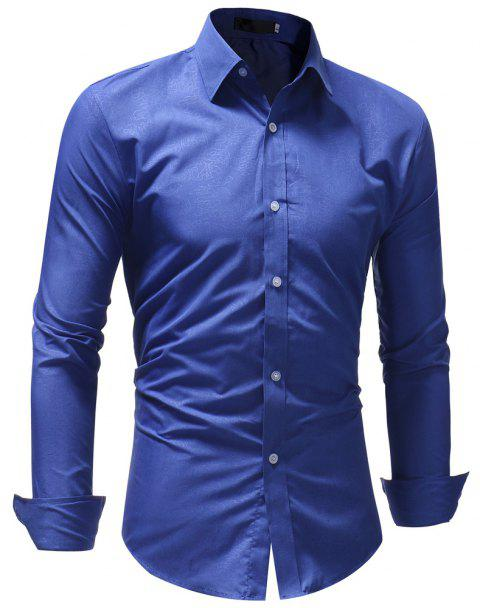 Men's Fashion Casual Slim Long Sleeve Lapel Shirt - BLUE 2XL