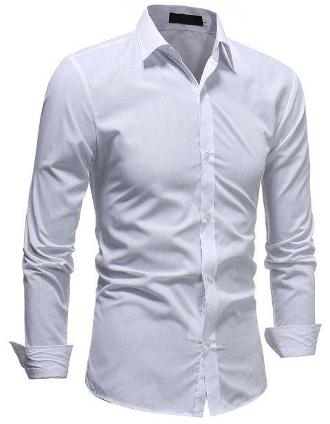 Men's Fashion Casual Slim Long Sleeve Lapel Shirt - WHITE 2XL