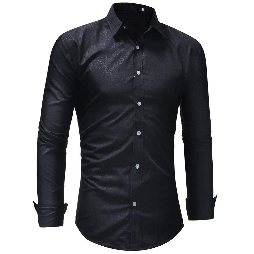 Men's Fashion Casual Slim Long Sleeve Lapel Shirt - BLACK XL