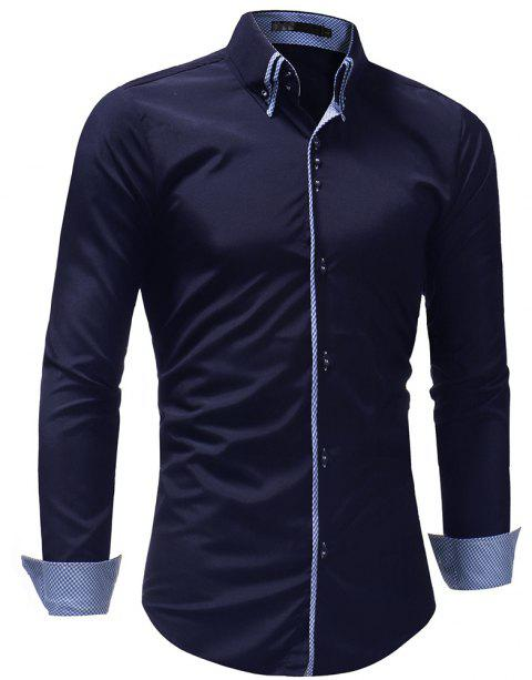 Men's Casual Slim Fashion Solid Color Long-Sleeved Shirt - CADETBLUE 3XL