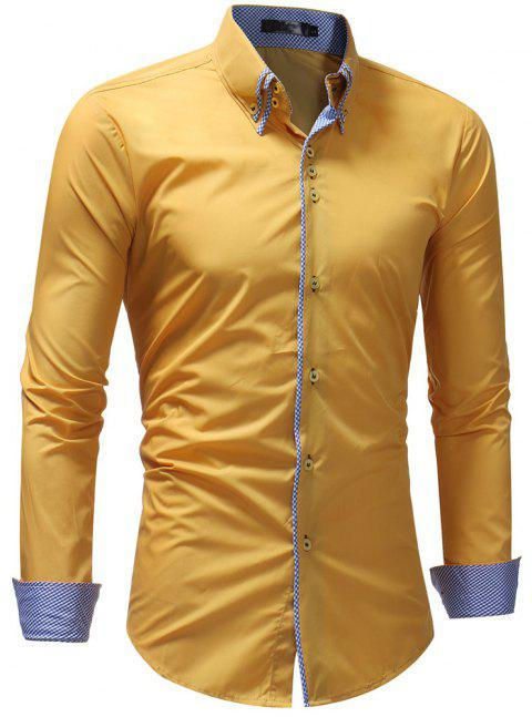 Men's Casual Slim Fashion Solid Color Long-Sleeved Shirt - YELLOW 2XL