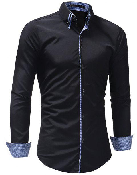 Men's Casual Slim Fashion Solid Color Long-Sleeved Shirt - BLACK 3XL