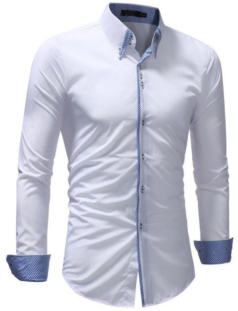 Men's Casual Slim Fashion Solid Color Long-Sleeved Shirt - WHITE M