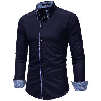 Men's Casual Slim Fashion Solid Color Long-Sleeved Shirt - CADETBLUE M