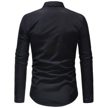 Men's Casual Slim Fashion Solid Color Long-Sleeved Shirt - BLACK L