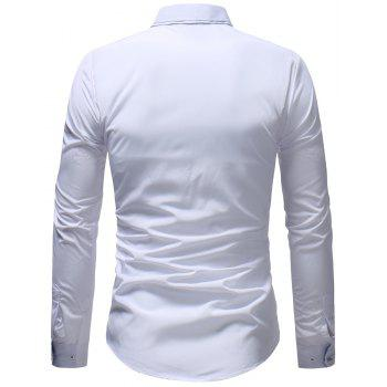 Men's Casual Slim Fashion Solid Color Long-Sleeved Shirt - WHITE XL