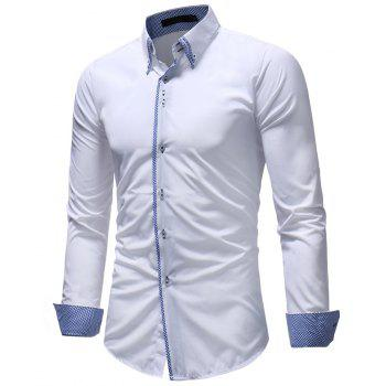 Men's Casual Slim Fashion Solid Color Long-Sleeved Shirt - WHITE 2XL