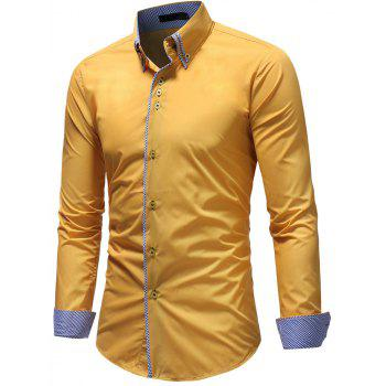 Men's Casual Slim Fashion Solid Color Long-Sleeved Shirt - YELLOW 3XL