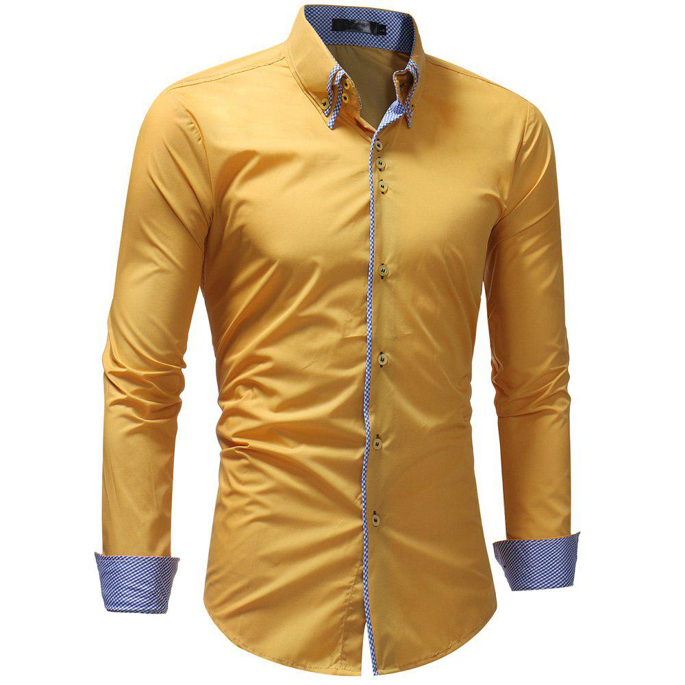 Men's Casual Slim Fashion Solid Color Long-Sleeved Shirt - YELLOW L