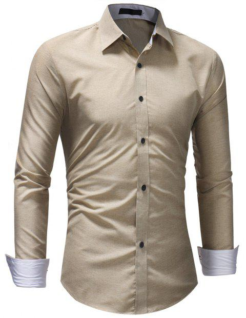 Men's Fashion Casual Solid Color Long-Sleeved Shirt - BEIGE 2XL