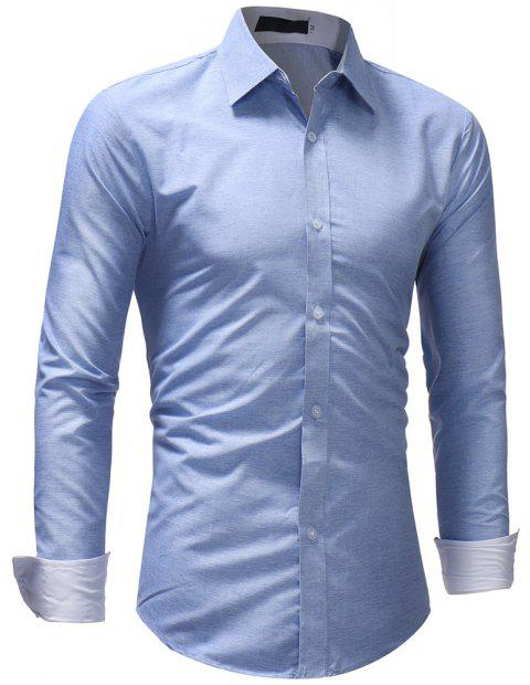 Men's Fashion Casual Solid Color Long-Sleeved Shirt - LIGHT BLUE XL