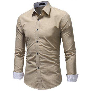 Men's Fashion Casual Solid Color Long-Sleeved Shirt - BEIGE XL