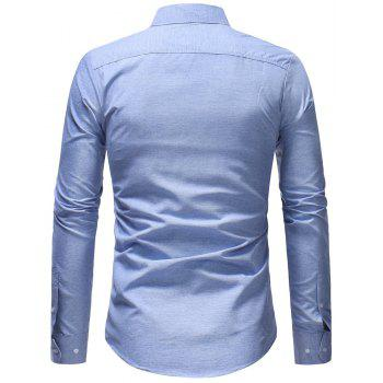 Men's Fashion Casual Solid Color Long-Sleeved Shirt - LIGHT BLUE 2XL