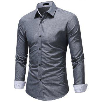Men's Fashion Casual Solid Color Long-Sleeved Shirt - GRAY M