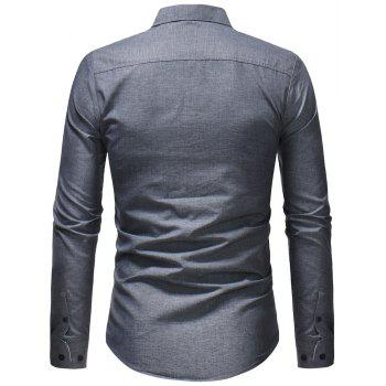 Men's Fashion Casual Solid Color Long-Sleeved Shirt - GRAY L